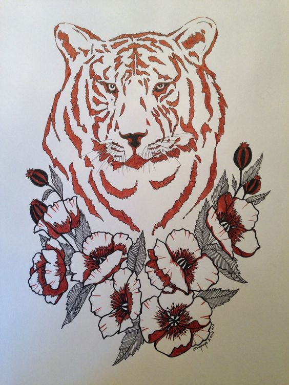 Tiger among poppies.