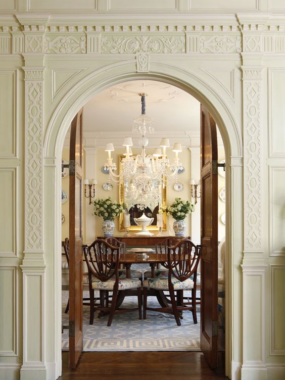 Stunningly beautiful room with lovely shield back chairs, great rug, exquisite millwork ~ just gorgeous!