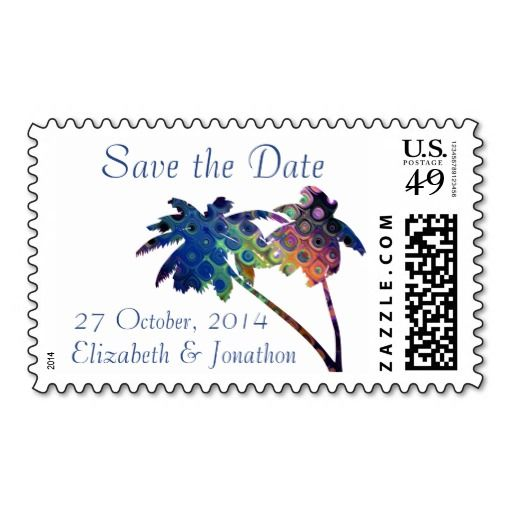 Glitzy Rainbow Tropical Palm Tree Save the Date custom US postage stamps for your wedding