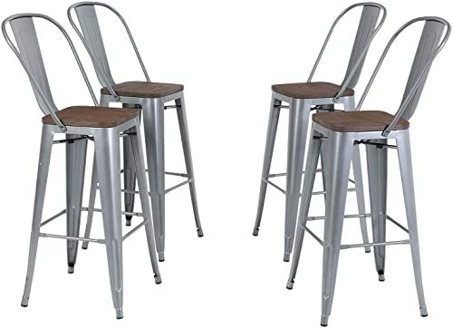 Amazing Offer On Sophia William Bar Stool 30 High Back Set 4 Metal Dining Bar Chairs Wood Seat Stackable Patio Stool Industrial Kitchen Bar Indoor Outdoor In 2020 Wood