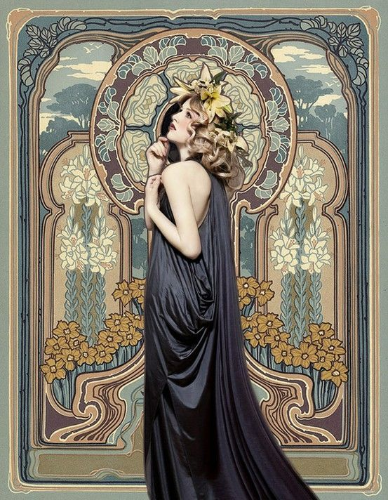I would like to have a photo shoot like this with an original art nouveau background.
