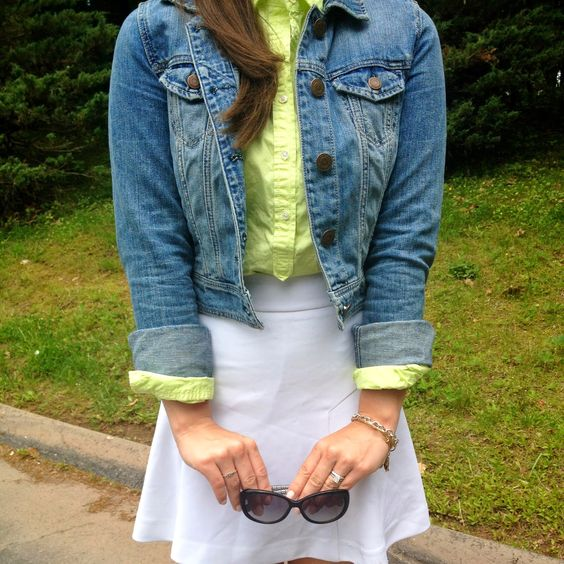 Highlighter green W/ white and denim