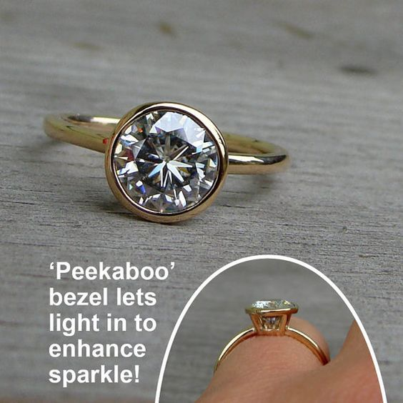 Forever Brilliant Moissanite and Recycled 14k Yellow Gold Alternative Engagement Ring with Peekaboo Bezel Setting, Made to Order