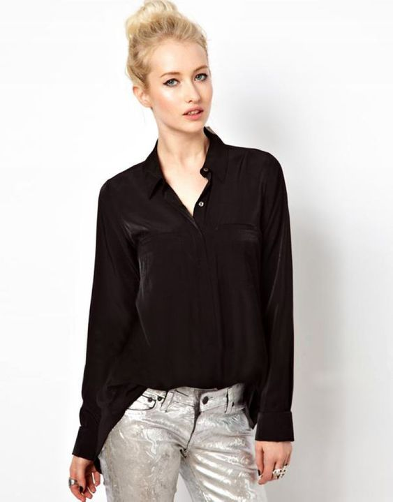 Loose Slit Back Sheer Chiffon Blouse Button-Up Shirt Black ...