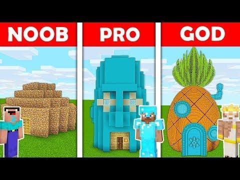 Minecraft Battle Noob Vs Pro Vs God Patrick Vs Spongebob Vs Squidward House In Real Life Avm Minecraft Spongebob Noob