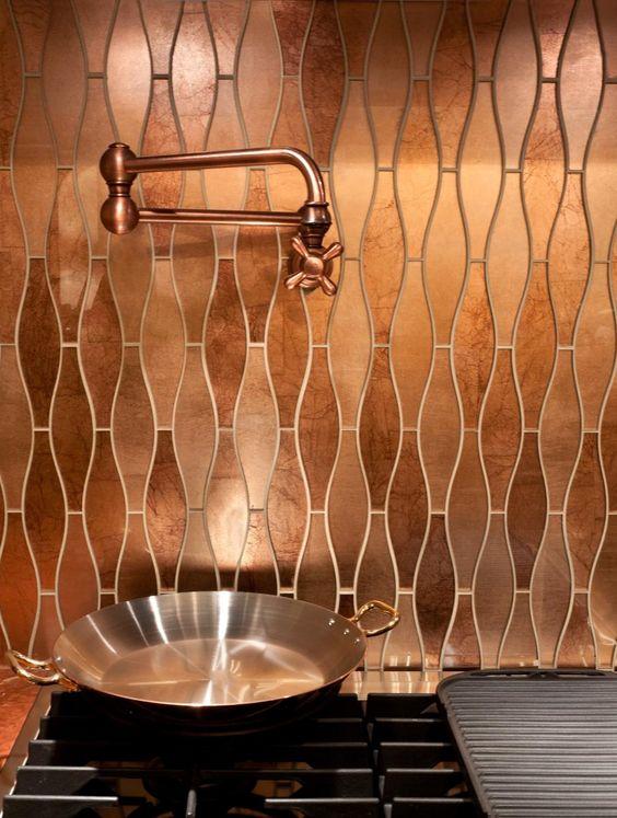 Copper backsplash tile in kitchen
