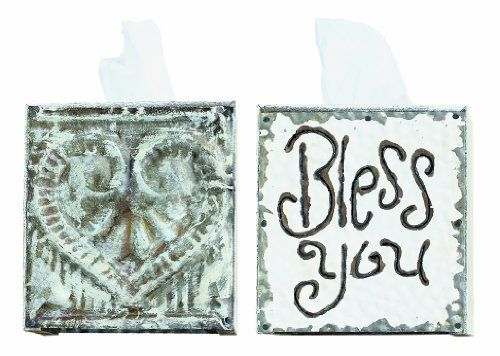 Creative CoOp White Wood and Tin Bless You Tissue Box Cover ** Read more reviews of the product by visiting the link on the image.