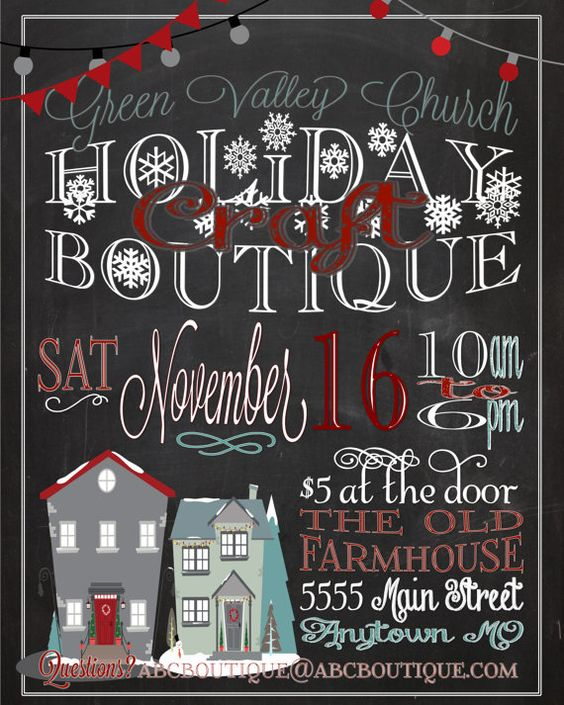 Holiday craft boutique fair show flyer poster for Vendor craft shows near me