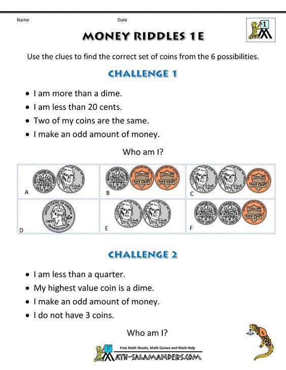 money math worksheets Money Riddles 1e education – Math Worksheets with Riddles