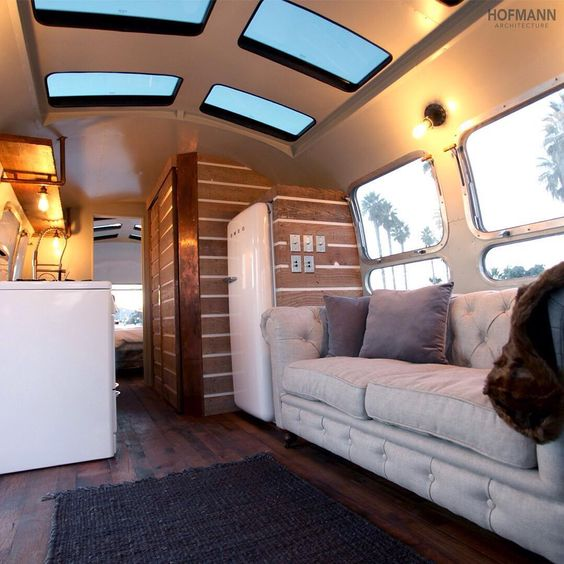 Wanderlust pull out couch and the sky on pinterest for Airstream decor