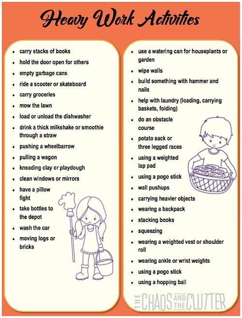 Heavy Work Activity Printables The Chaos And The Clutter Sensory Processing Activities Work Activities Proprioceptive Activities