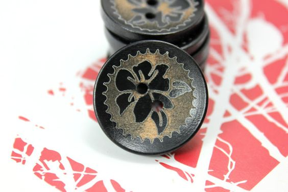 Brown Wooden Buttons  Japanese Style Khaki Bauhinia by Lyanwood, $5.00