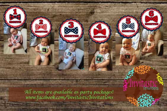 Little Man Bow Tie Red and Navy 1st Birthday by InvitasticInvites, $10.00