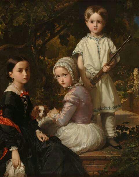 Federico de Madrazo y Kuntz. Luisa,Rosa y Raimundo,hijos del pintor.1845