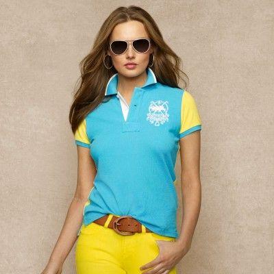 Polo Ralph Lauren Women\u0026#39;s Color Block Mesh Polo Oasis Blue #Polo #Ralph Lauren