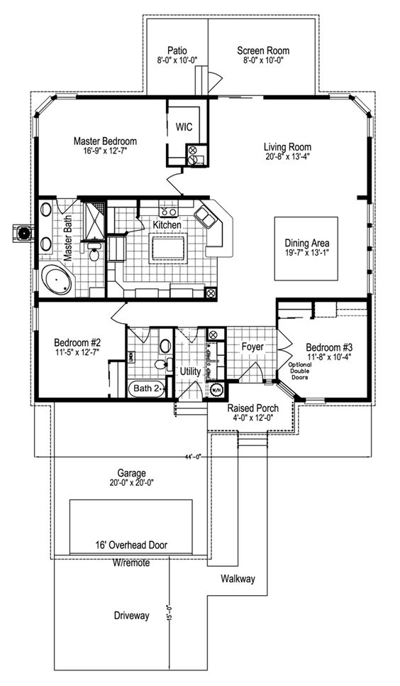 Island kitchen home floor plans and open floor on pinterest 3 bedroom open floor plan