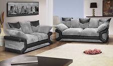 NEW DINO 3+2 FABRIC SOFAS IN BROWN/BEIGE OR BLACK/GREY