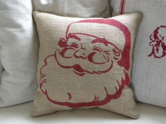 burlap santa pillow