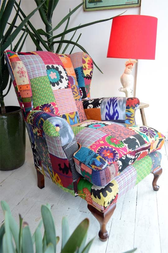 Patchwork upholstered armchair