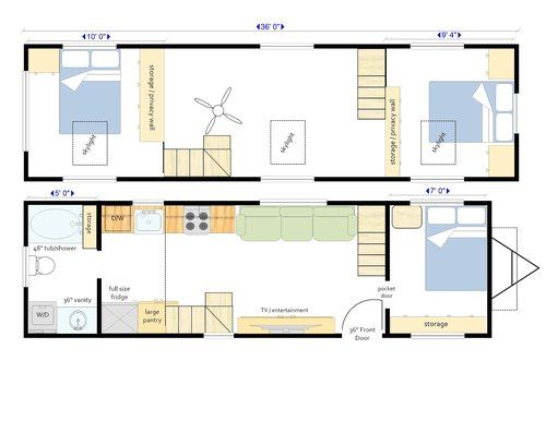 This 34 X 10 Wide Custom Built Tiny House Features 3 Bedrooms One On The Main Level With The Additi Tiny House Layout House On Wheels Tiny House Floor Plans