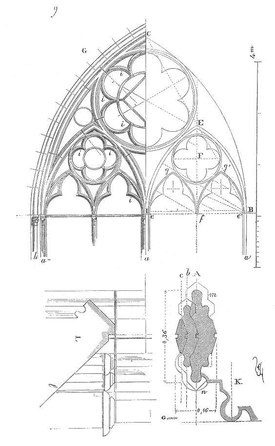 Meneaux fenetre Notre Dame Paris: