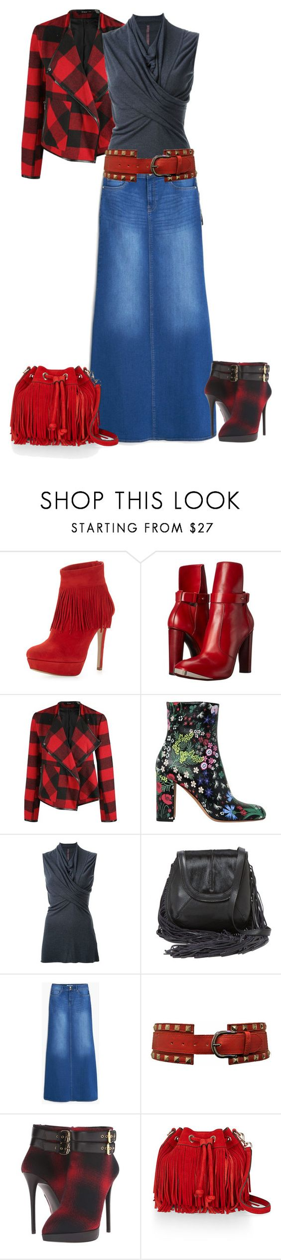 """Bit of Plaid"" by lovetodrinktea ❤ liked on Polyvore featuring Charles David, COSTUME NATIONAL, Dex, Valentino, Rick Owens Lilies, Isabella Fiore, MANGO, Giuseppe Zanotti and Rebecca Minkoff"