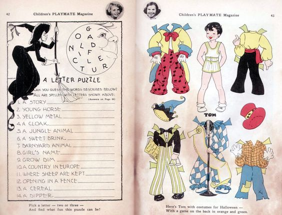 Vintage Children's Playmate Oct 1959 Halloween Paper Dolls Green Goblins Hobo | eBay