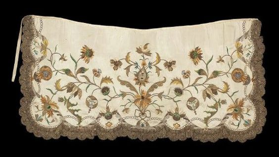 18th Century French Apron at the Museum of Fine Arts, Boston - While I have already pinned one example of these aprons to this board before, I wanted to add this one too because I think the embroidered pattern looks so pretty.