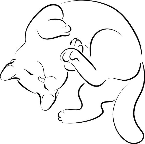Line Drawing Cat Tattoo : Light dark orange w white tabby silhouette with kitty