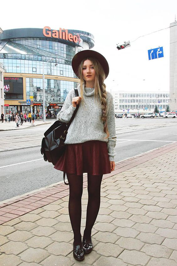 Grey High Neck Hollow Long Sleeve Knit Sweater, Elastic Waist Flare Maroon Skirt, Wine Red Casual Oversize Hat, Monki Patent Tassel Loafers & Buckle-loop Backpack Cover Zip Up - http://ninjacosmico.com/29-grunge-outfit-ideas-fall/:
