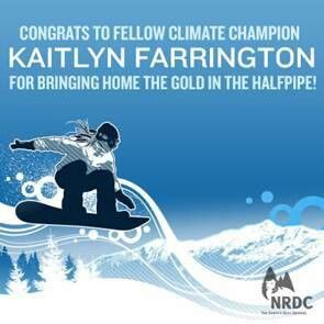 Kaitlyn Farrington, Olympic Gold Medal in the Halfpipe and climate champion.  Via NRDC on Facebook