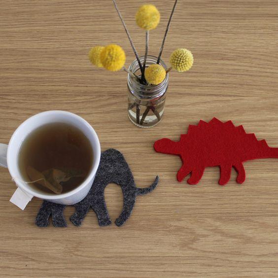 Handmade Dinosaur Coaster Set - 100% Merino Wool Felt, Set of 2 by CharlotteFilshieUK on Etsy https://www.etsy.com/listing/220837289/handmade-dinosaur-coaster-set-100-merino