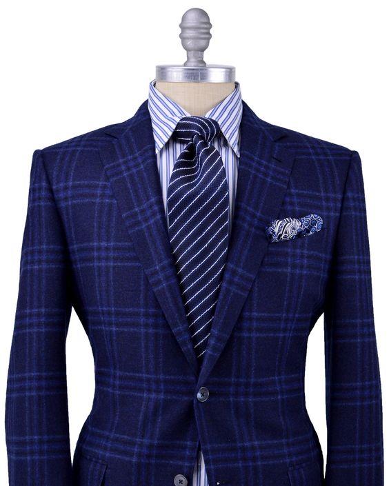 Ermenegildo Zegna | Blue Plaid Sporcoat | Apparel | Men's- plaid