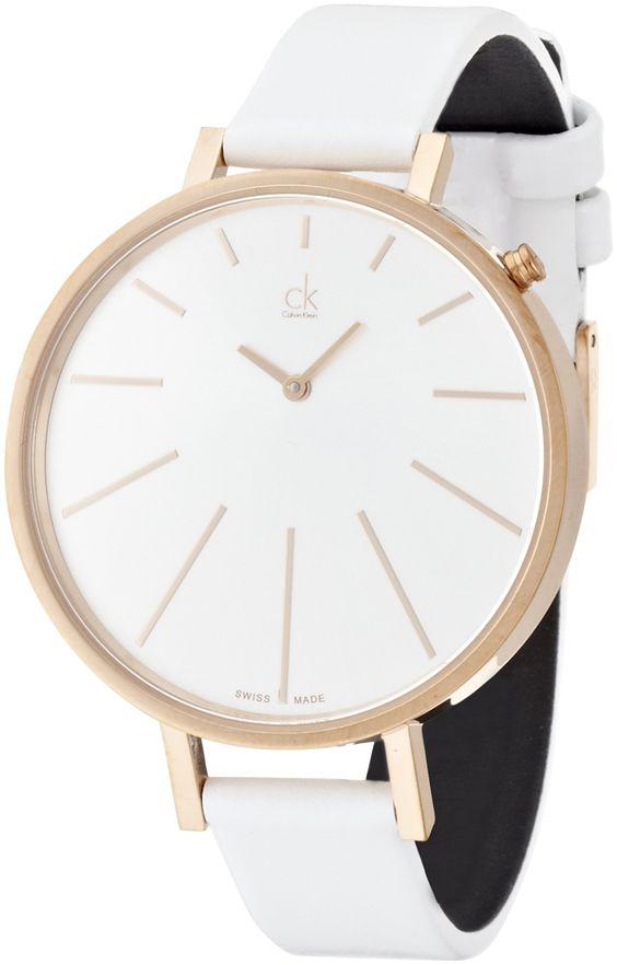 Calvin Klein - Montre Femme - equal - analog - cadrant argent - bracelet blanc: Amazon.fr: Montres