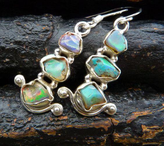 SUMMER SALE raw natural opal earrings handmade opal by BeijoFlor