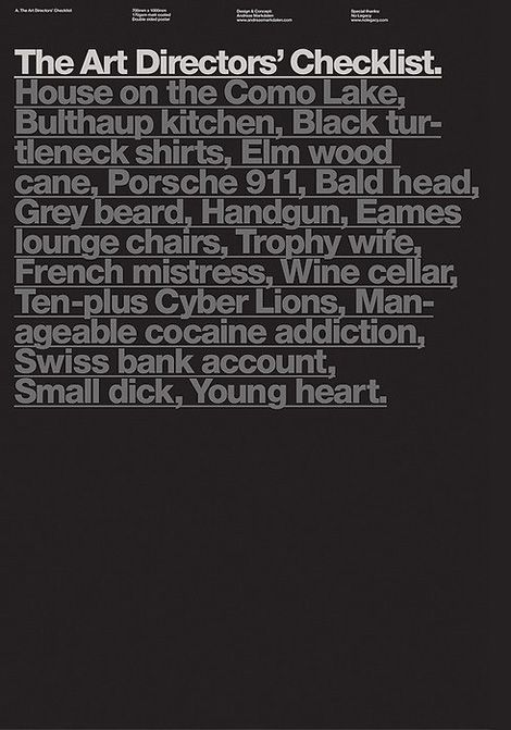 The Art Directors' Checklist