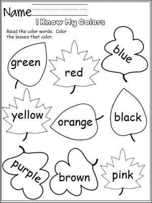 Leaf Worksheets For Kindergarten I Know My Colors Leaves In 2020 Fall Kindergarten Learning Colors Preschool Colors Preschool color learning worksheets