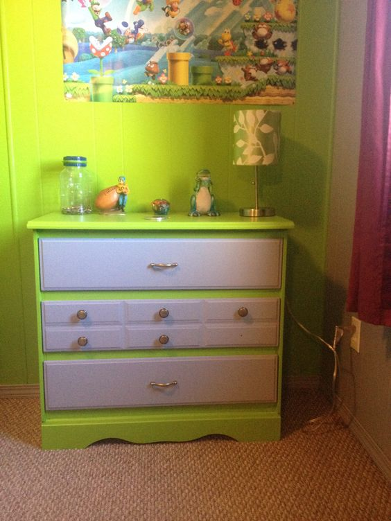 Boys dresser painted to match walls