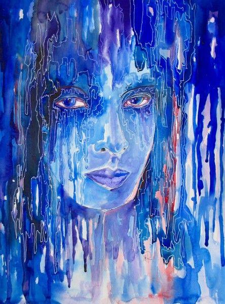 Portrait  - Original von *zeitgenössische kunst von maria-mercedes* auf DaWanda.com Watercolor painting