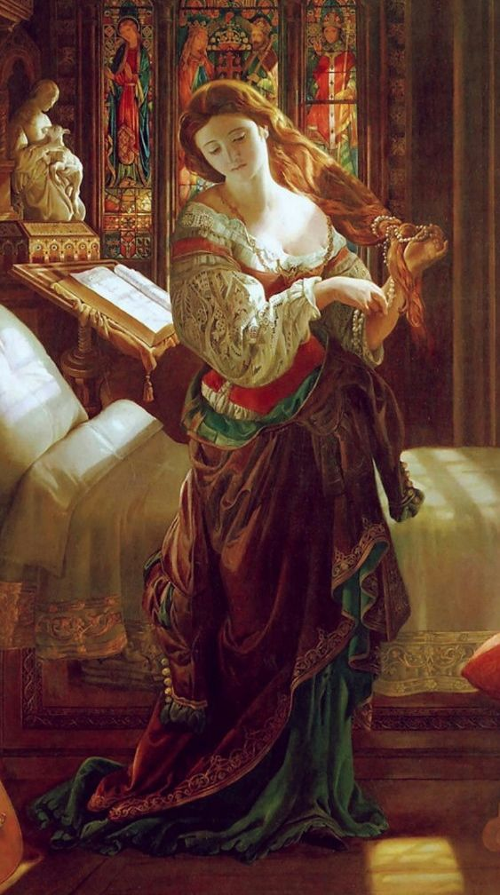 "Madeline after Prayer, detail (1868). Daniel Maclise (1806–1870). 19th-century Pre-Raphaelite art. Inspired by Keats's ""The Eve of St. Agnes."" ""...Full on this casement shone the wintry moon, / And threw warm gules on Madeline's fair breast, / As down she knelt for heaven's grace and boon; / Rose-bloom fell on her hands, together prest, / And on her silver cross soft amethyst, / And on her hair a glory, like a saint: / She seem'd a splendid angel, newly drest,..."" (Keats):"