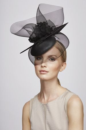 Black lace feather mini   Juliette Botterill Millinery SS 2014