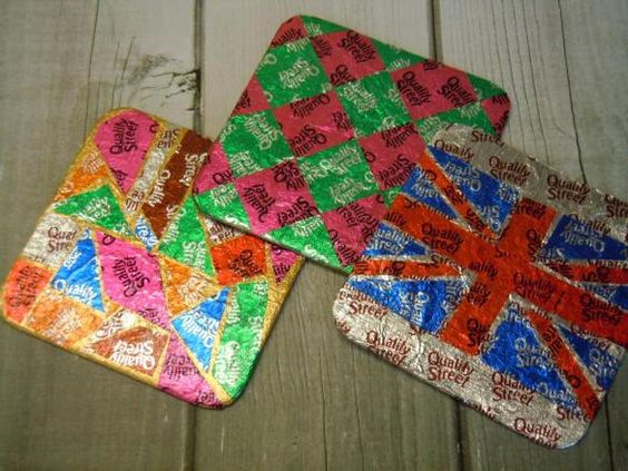 Upcycled Coasters, recycled coasters