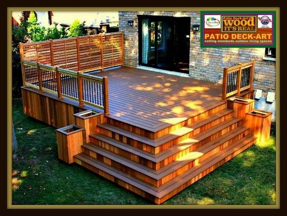 Patios bois modele design plan ipe deck cedre trex for Design patio exterieur