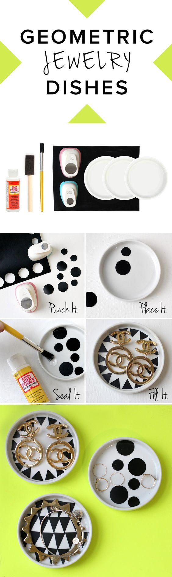 Geometric Jewelry Dishes designed by @I Spy DIY for #darbysmart: