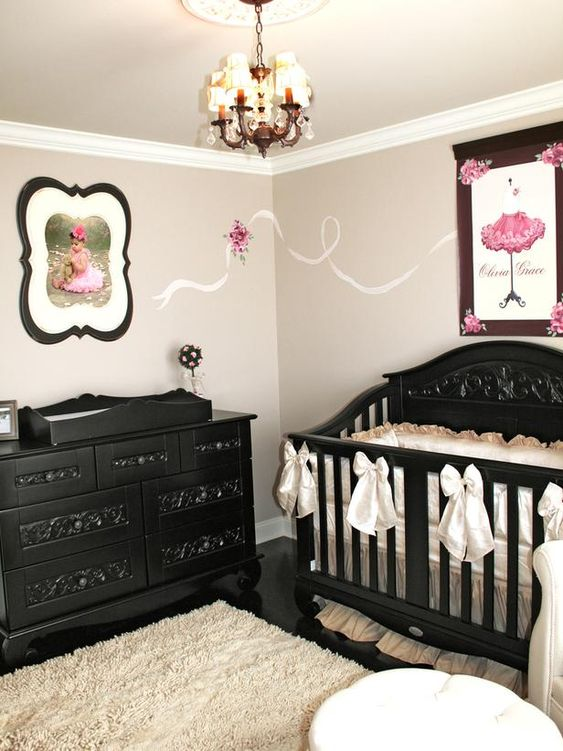 I like the idea of black and white with one accenting color. Red or pink would be gorgeous. I also like that there is cute wall decal to draw your eye from one picture to the other.