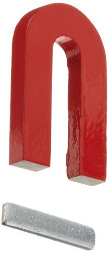 "Red Cast Alnico 5 U-Shaped Magnet With Keeper, 1-3/16"" Wide, 2"" Tall, 1/4"" Thick (Pack of 1). Great for Science!!!"