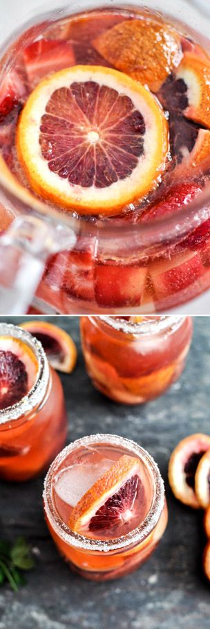 Blood Orange Sangria, make a big batch for the Super Bowl! I howsweeteats.com