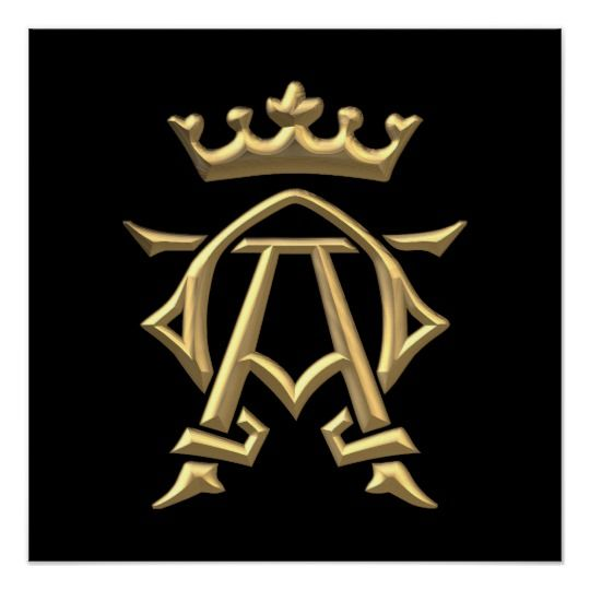 Golden 3 D Alpha And Omega W Crown Symbol Poster Zazzle Com Alpha Omega Tattoo Tattoos For Guys Alpha And Omega Symbols