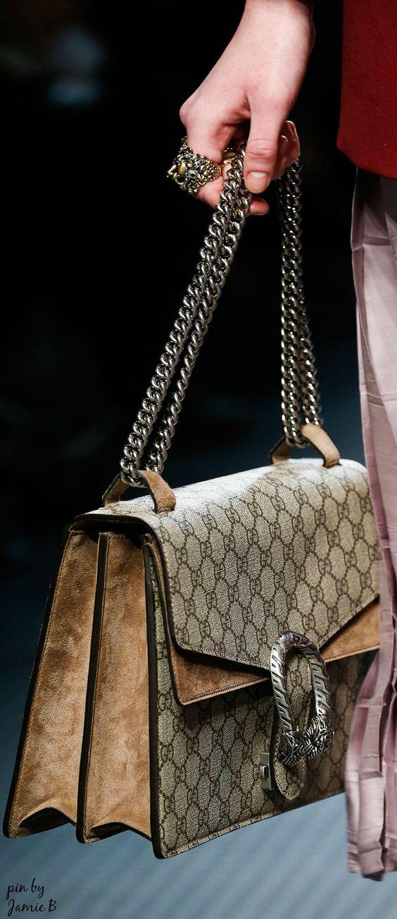 Gucci | Fall 2015 | Dionysus GG Supreme Canvas Shoulder Bag, Ebony/Taupe