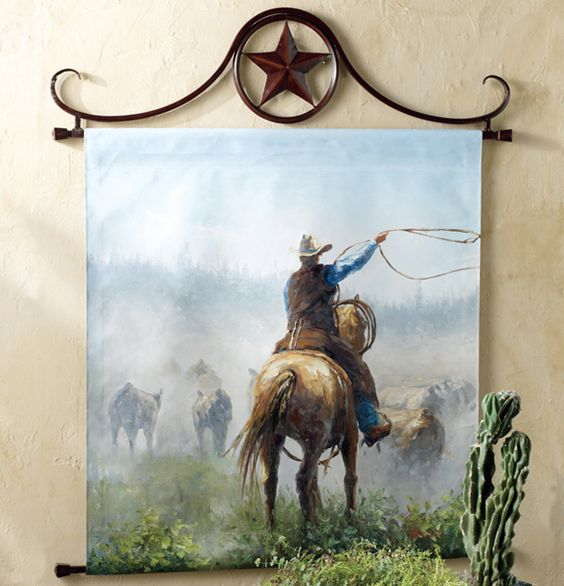 Western Decor Paint: Cattle Herd Oil Painting Wall Hanging